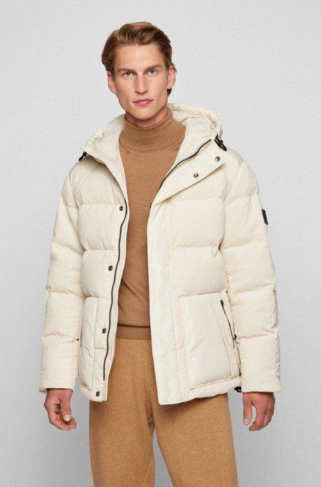 Relaxed-fit, gewatteerde jas van een materiaalmix, Wit