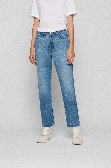 Regular-fit jeans in mid-blue Italian denim, Blue