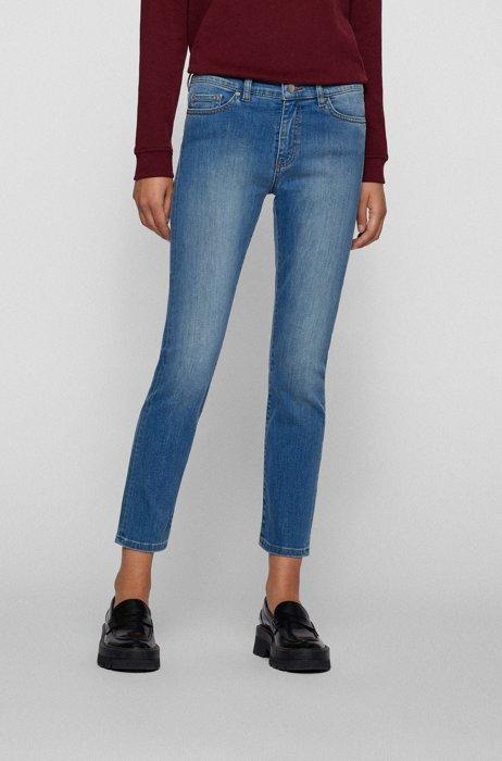 Slim-fit jeans in bright-blue super-stretch denim, Blue