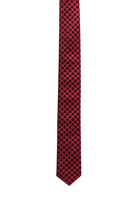 Checked tie in silk jacquard, Red Patterned