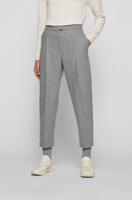 Relaxed-fit trousers with front pleats and cropped length, Silver