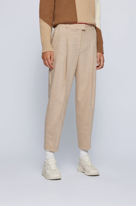 Relaxed-fit trousers with front pleats and cropped length, Light Brown