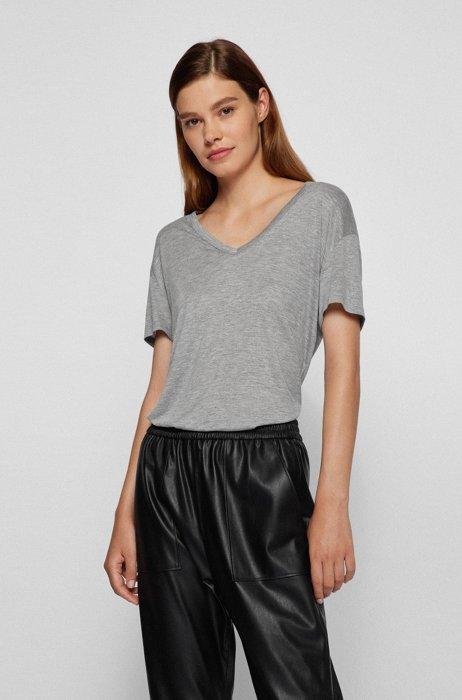 V-neck T-shirt in LENZING™ ECOVERO™, Silver