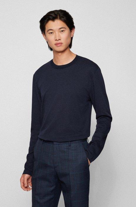 Slim-fit T-shirt met lange mouwen van katoen en kasjmier, Donkerblauw