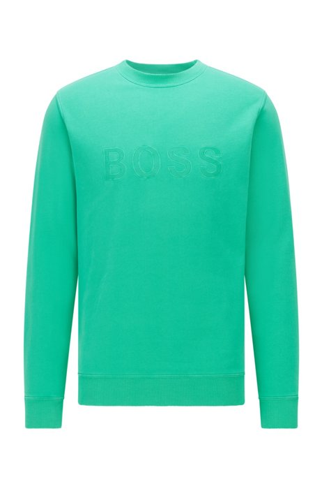 Organic-cotton relaxed-fit sweatshirt with embroidered logo, Light Green