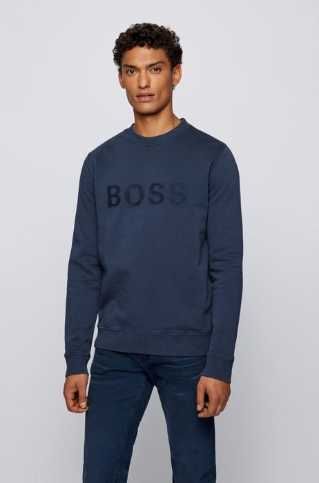 Organic-cotton relaxed-fit sweatshirt with embroidered logo, Dark Blue