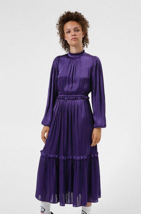 Long-sleeved mock-neck dress with ruffle trims, Dark Purple