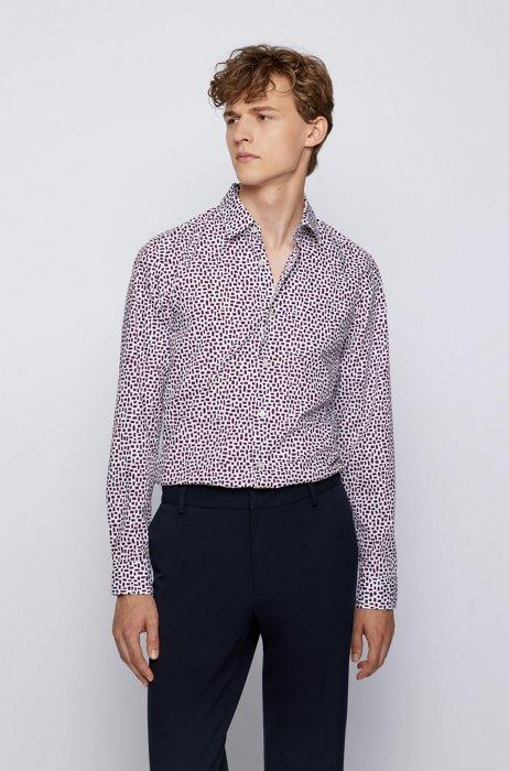 レギュラーフィットシャツ プリント コットンポプリン, パープル パターン