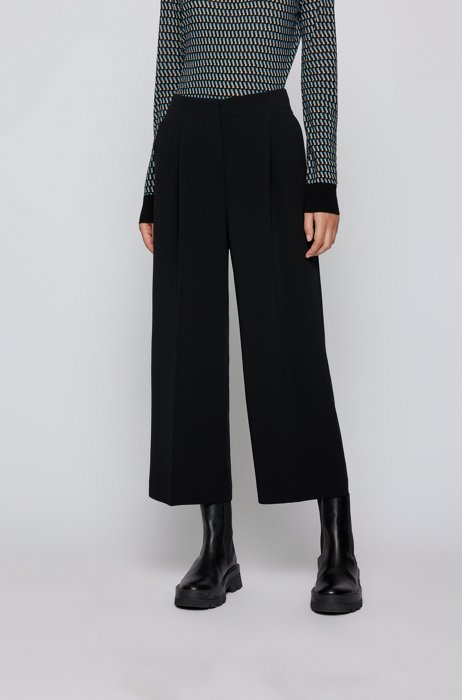 Relaxed-fit trousers in Japanese crepe with natural stretch, Black