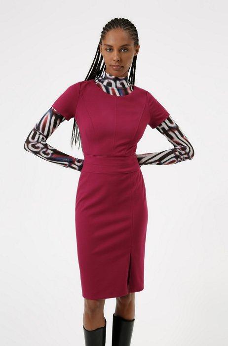 Slim-fit jurk van stretchjersey, lichtrood