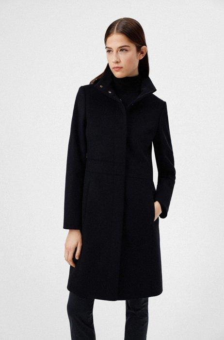 Regular-fit coat in a virgin-wool blend, Black