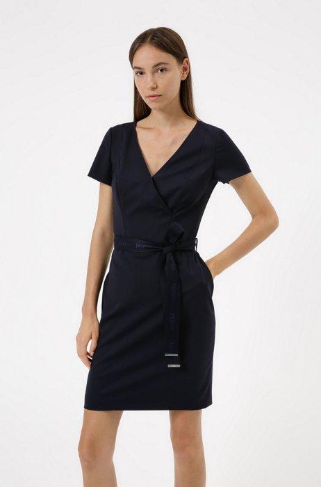 V-neck dress in worsted stretch-wool with logo belt, Dark Blue