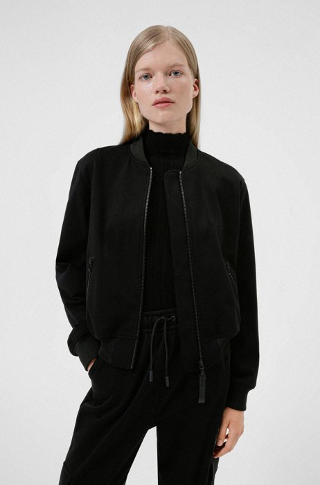 Relaxed-fit bomber jacket with red logo label, Black