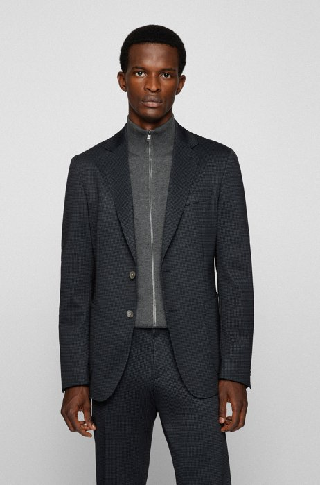 Slim-fit jacket in micro-patterned stretch jersey, Dark Grey