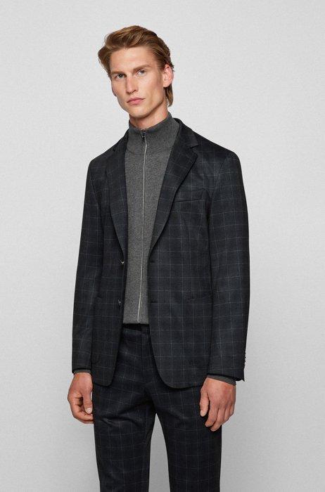 Slim-fit jacket in checked stretch jersey, Dark Grey