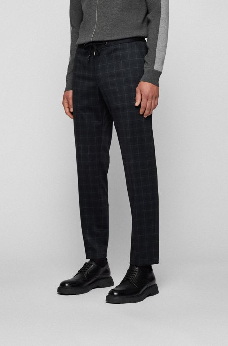 Slim-fit trousers in checked stretch jersey, Dark Grey