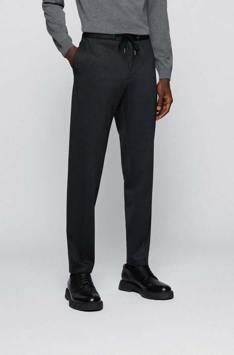 Slim-fit trousers in patterned stretch jersey, Dark Grey