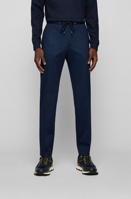 Slim-fit trousers in patterned stretch jersey, Dark Blue