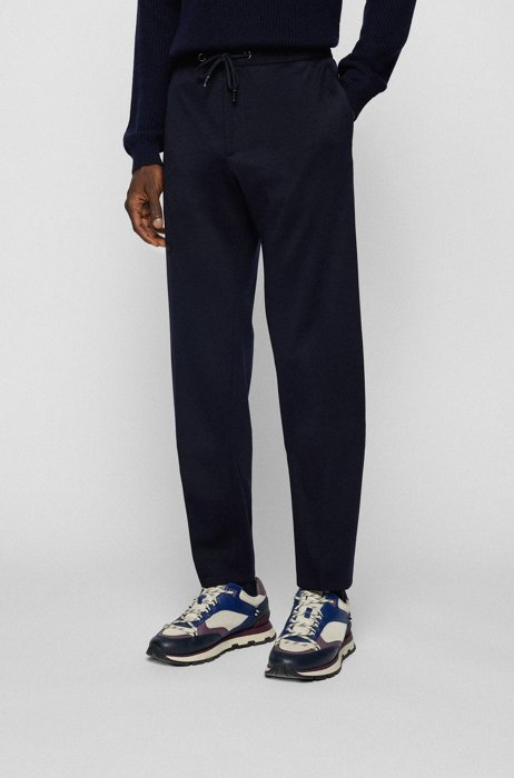 Melange slim-fit trousers in responsible virgin wool, Dark Blue