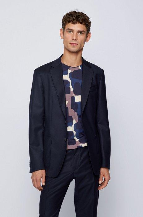 Slim-fit jacket in stretch-wool flannel, Dark Blue