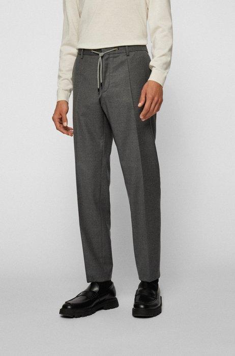 Slim-Fit Hose aus elastischem Wollflanell, Grau