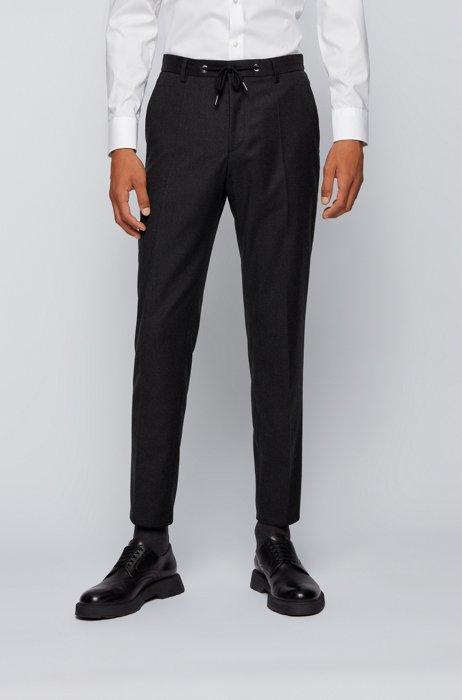 Slim-Fit Hose aus elastischem Wollflanell, Dunkelgrau