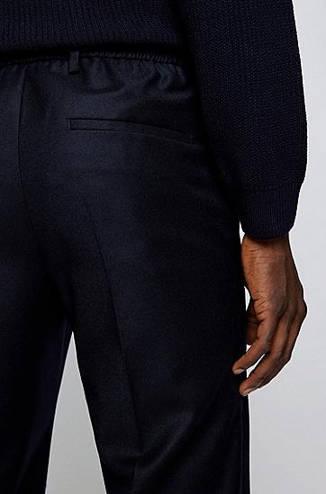 弹力羊毛法兰绒修身长裤,  401_Dark Blue