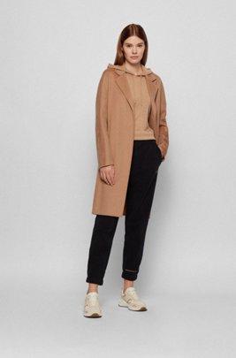 Regular-fit hooded sweater in virgin wool, Light Brown