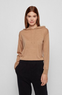 Regular-fit hooded sweater in virgin wool, Light Brown