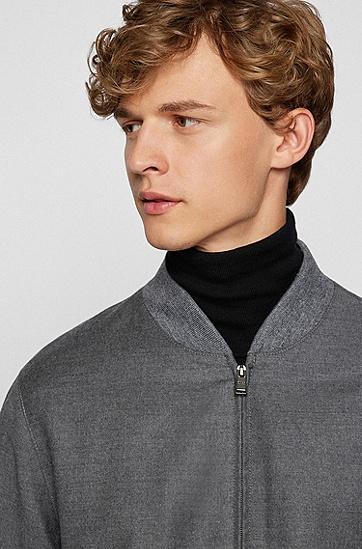 弹力羊毛法兰绒拉链开合修身夹克,  030_Medium Grey