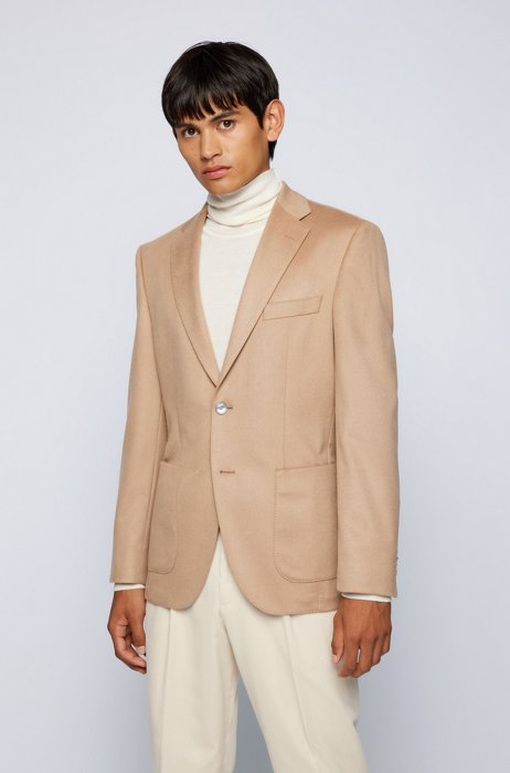 Regular-fit jacket in pure cashmere, Beige