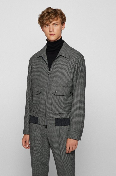 Slim-fit jacket in stretch wool with micro check, Grey