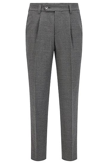 千鸟格弹力羊毛宽松打褶长裤,  030_Medium Grey