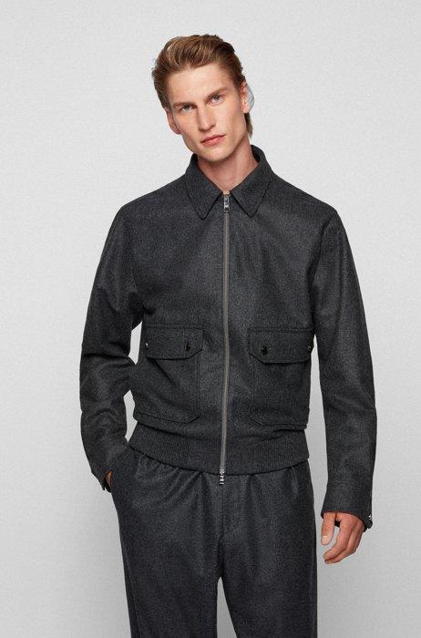 Slim-fit jas van Vitale Barberis Canonico-wol, Donkergrijs