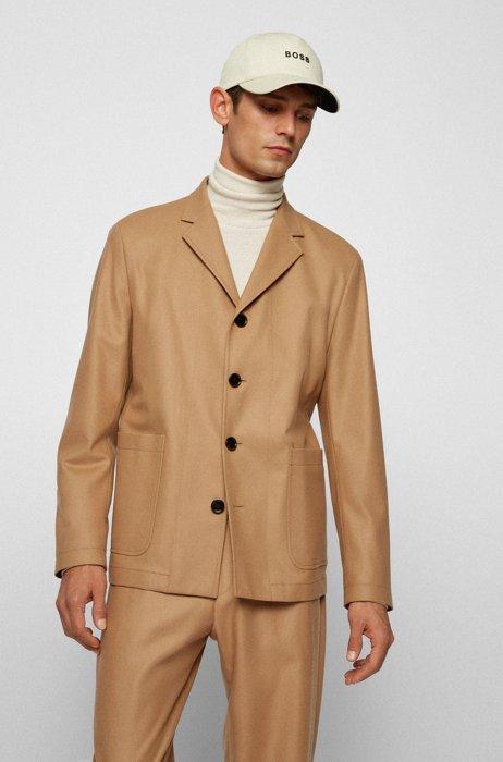 Relaxed-fit jacket in Italian virgin wool, Beige
