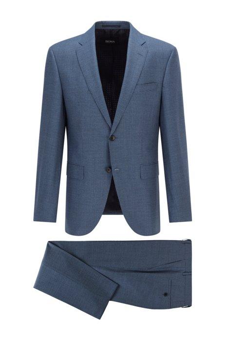 Regular-fit suit in patterned virgin-wool serge, Blue