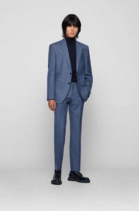 Costume Regular Fit en sergé de laine vierge à motif, Bleu