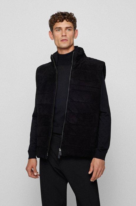 Regular-fit suede gilet with tonal branding, Black