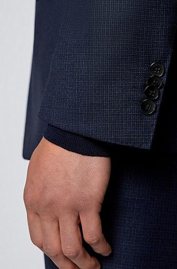 图案初剪羊毛哔叽面料修身西装,  404_Dark Blue