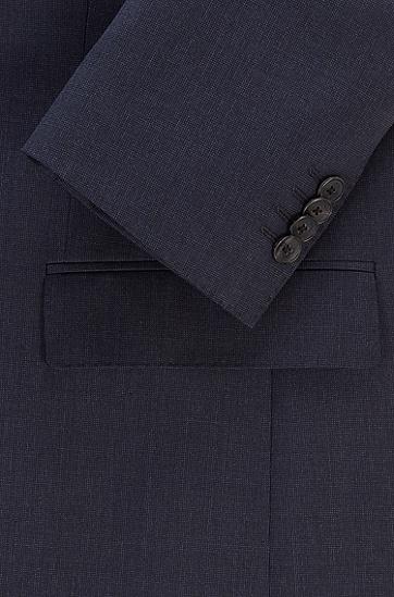 可溯源初剪羊毛微图案修身西装,  404_Dark Blue