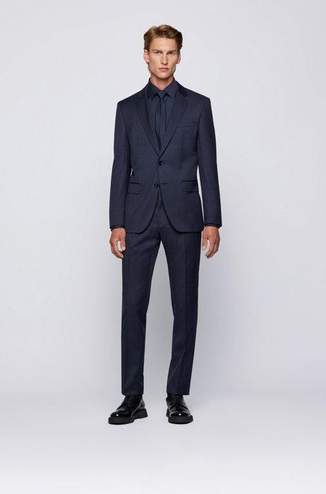 Micro-patterned slim-fit suit in traceable virgin wool, Dark Blue