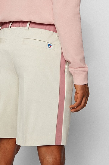 RUSSELL联名平纹针织锥形短裤,  272_Light Beige