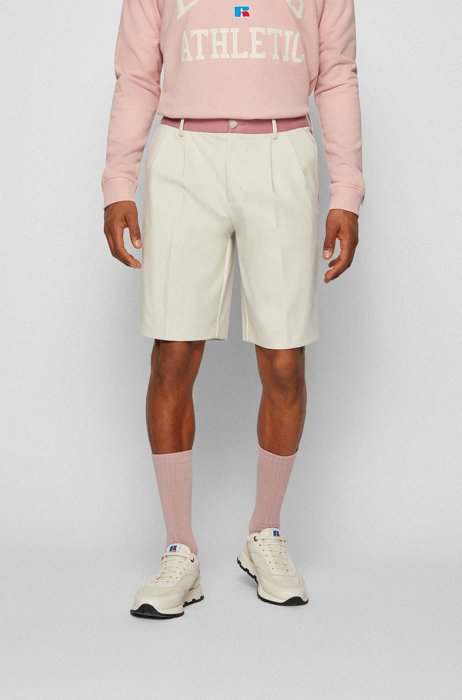 Tapered-fit shorts in Italian jersey with exclusive logo, Light Beige