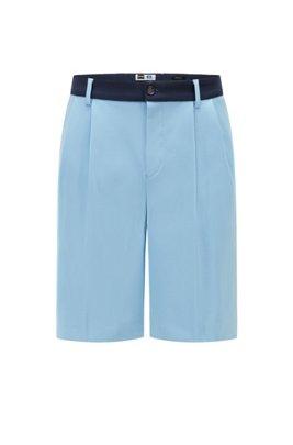 Short Tapered Fit en jersey italien avec logo exclusif, bleu clair