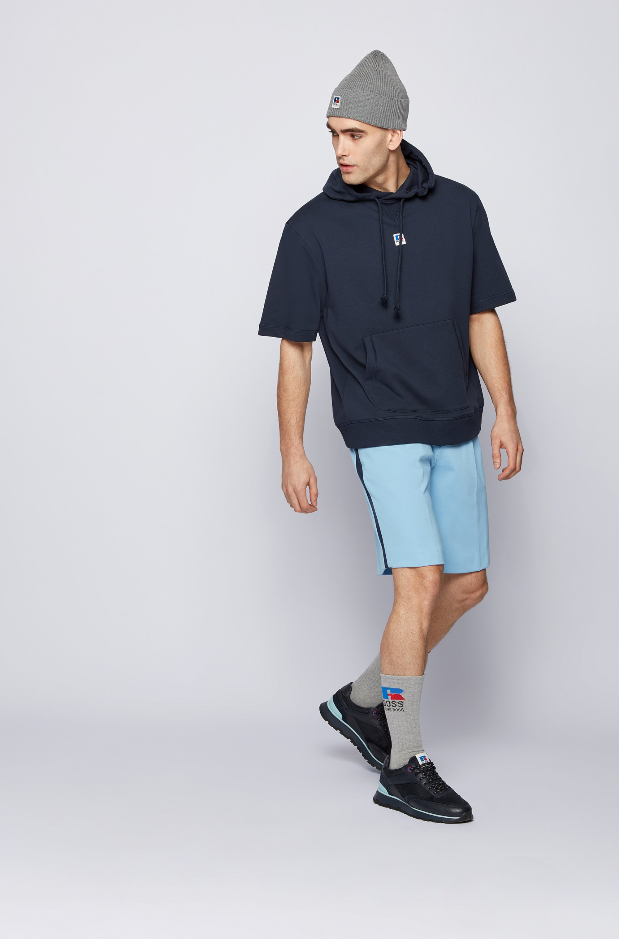 Tapered-fit shorts in Italian jersey with exclusive logo