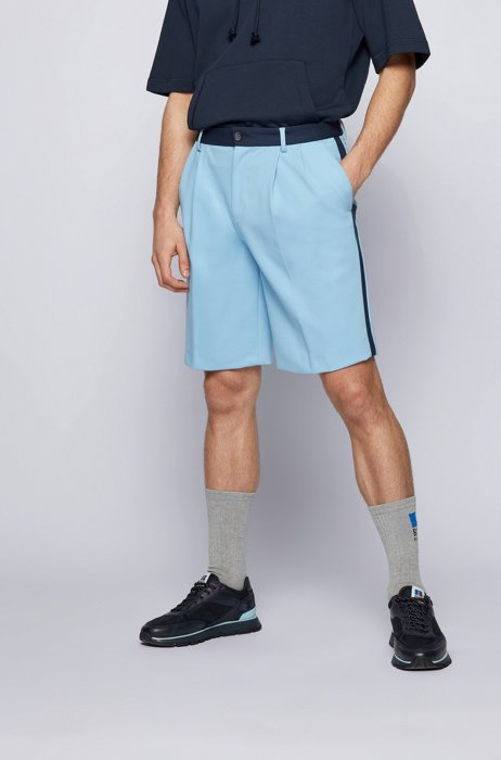 Tapered-fit shorts in Italian jersey with exclusive logo, Light Blue