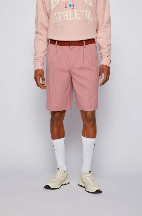 Tapered-fit shorts van Italiaanse jersey met exclusief logo, Lichtroze