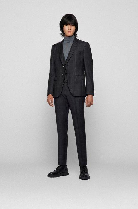 Three-piece extra-slim-fit suit in checked virgin wool, Dark Grey