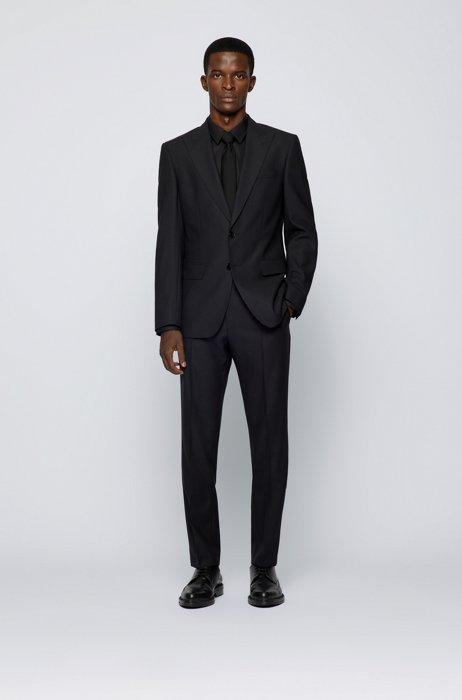 Slim-fit suit in micro-patterned virgin wool, Black
