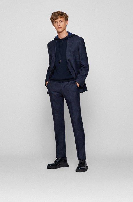 Regular-fit suit in checked virgin-wool serge, Dark Blue